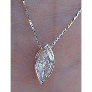 Jewelry - Solitaire Marquise Cut Diamond Necklace Pendant Go